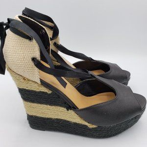 C. Label Platform Wedge Espadrille Sandals Black 8